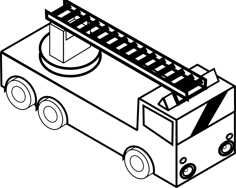 Fire truck black and. Fireman clipart colouring page
