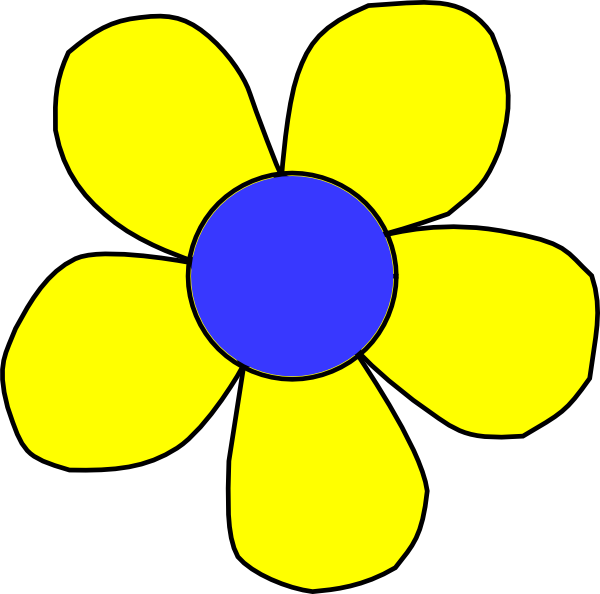 Blue and flower clip. Flowers clipart yellow