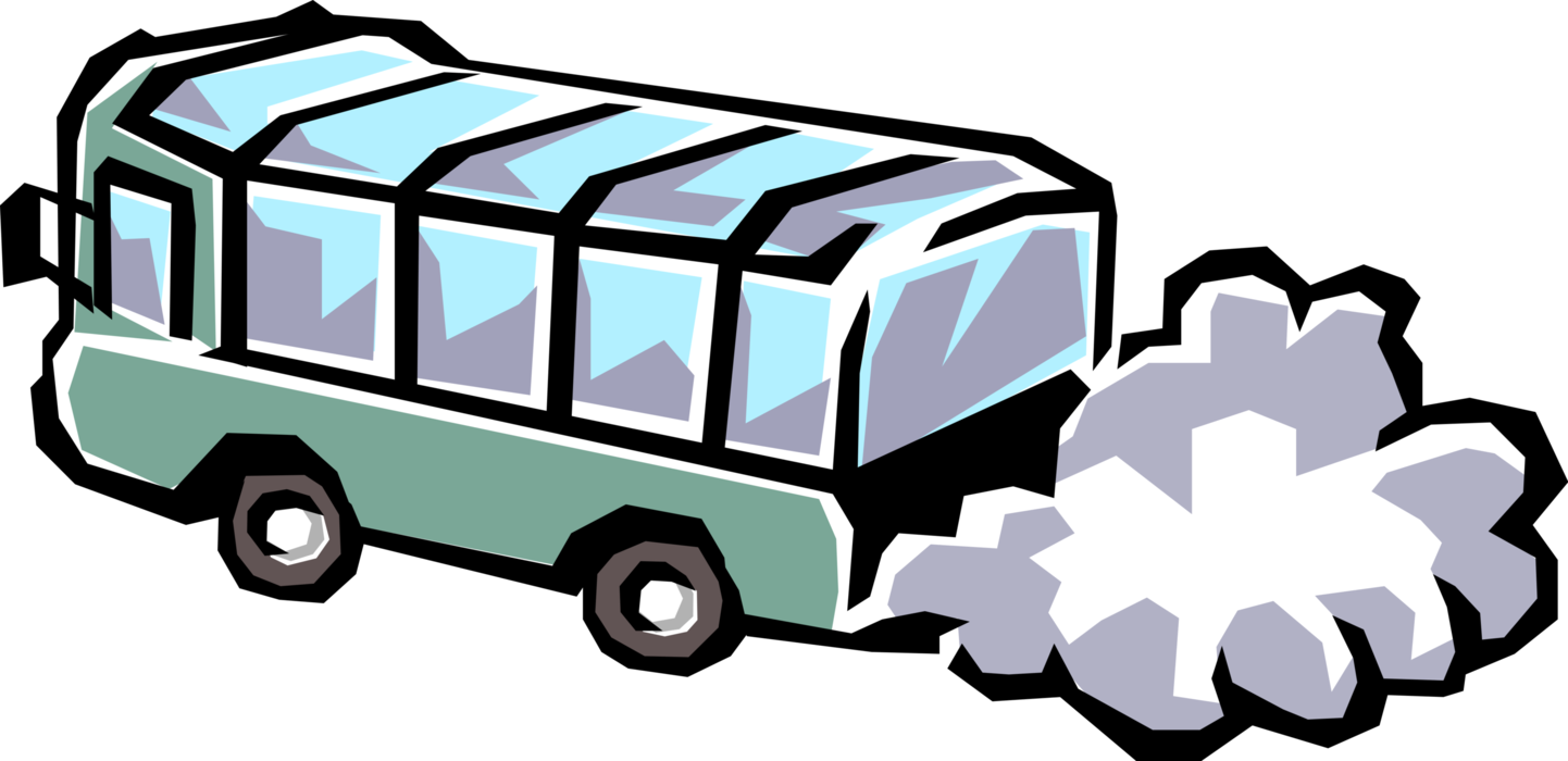 Passenger tour bus spews. Clipart car fume