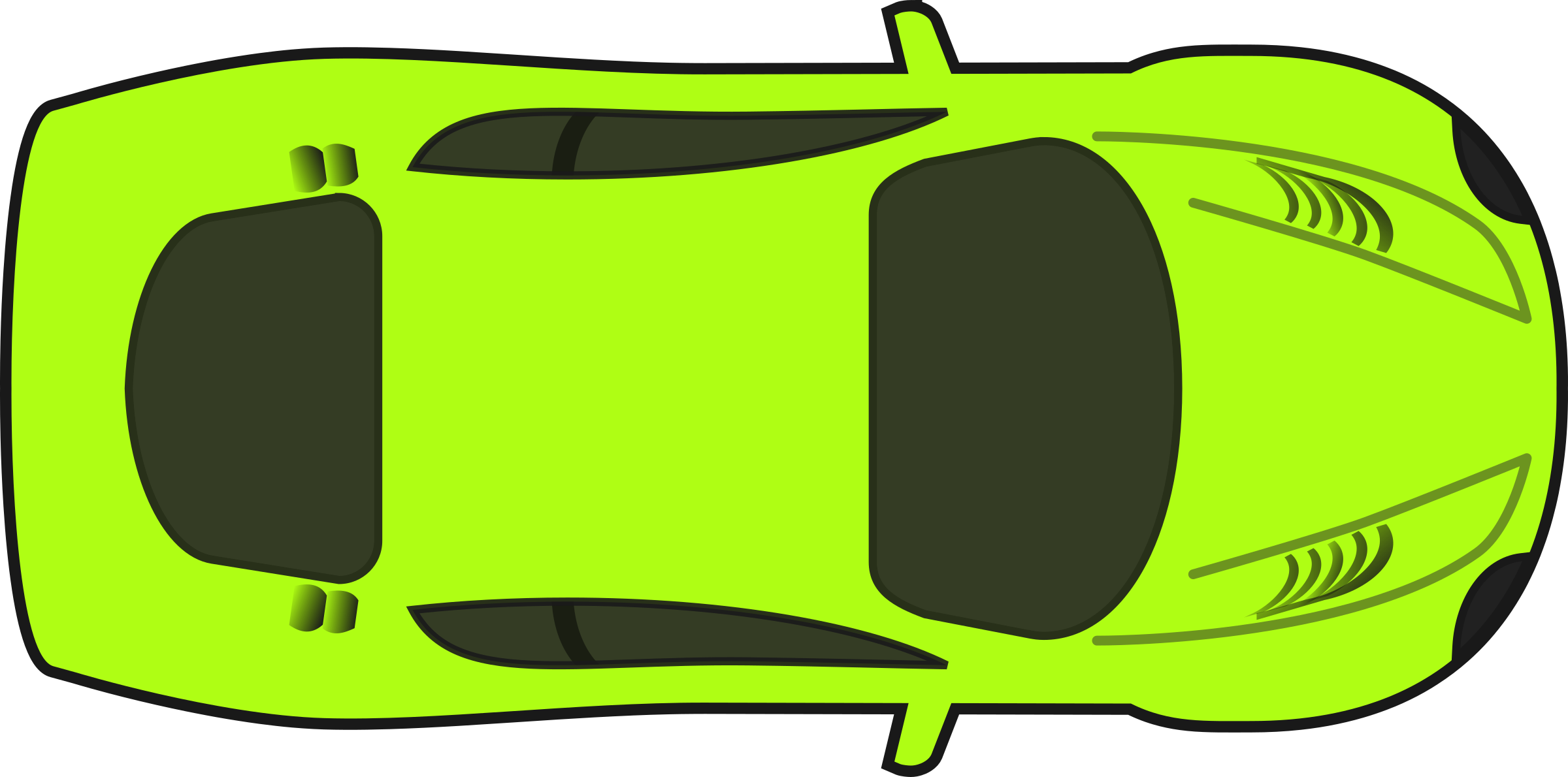 Bright racing car top. Clipart cars green