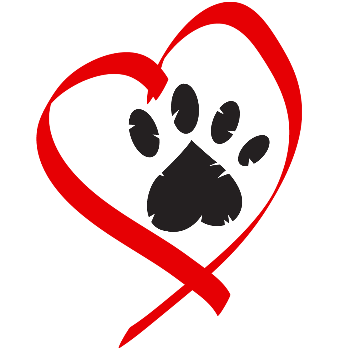 Paw gogrrlz logo idea. Pet clipart heart