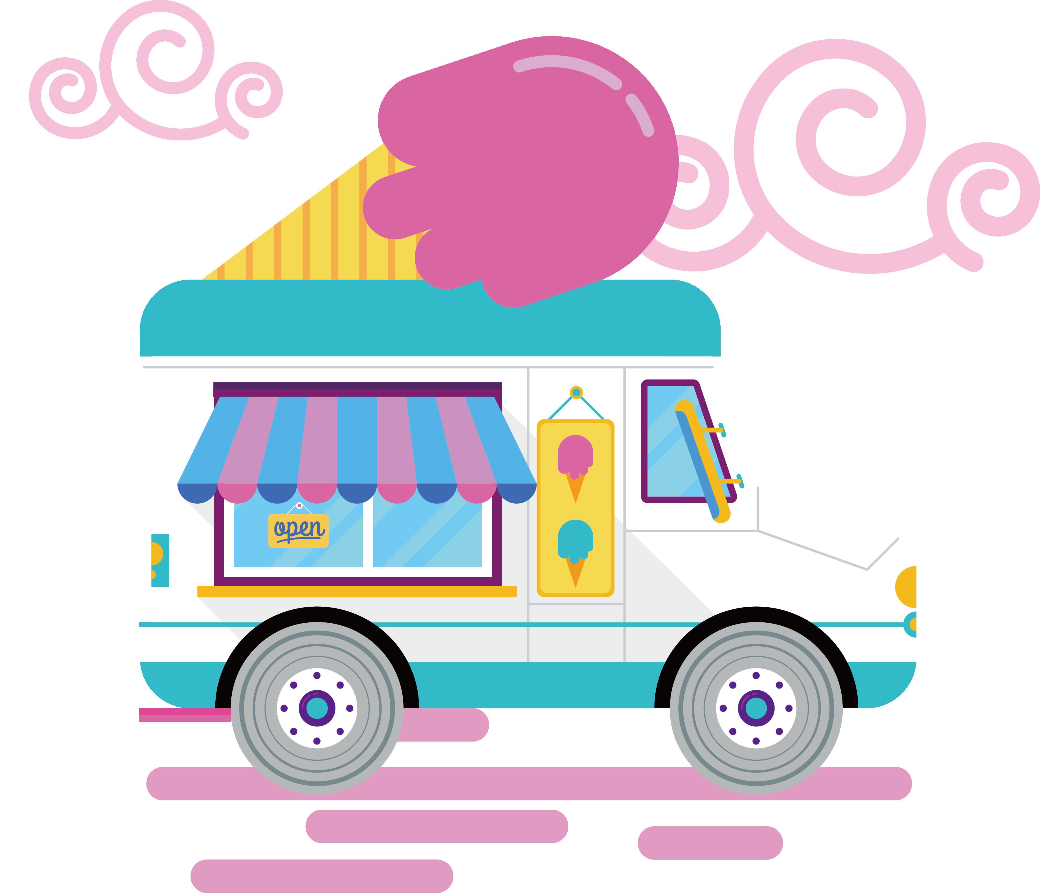 Van big gay driving. Clipart car ice cream