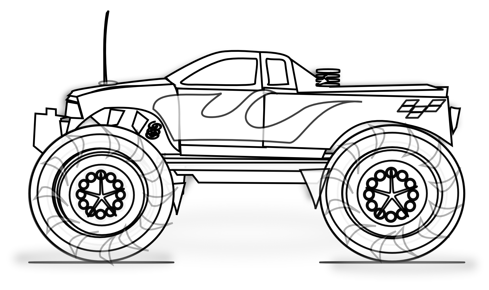 Motorcycle clipart coloring page. Free printable monster truck