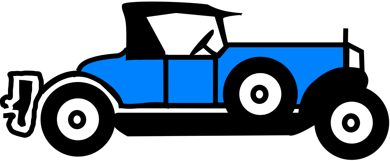 File blue car svg. Clipart cars old time