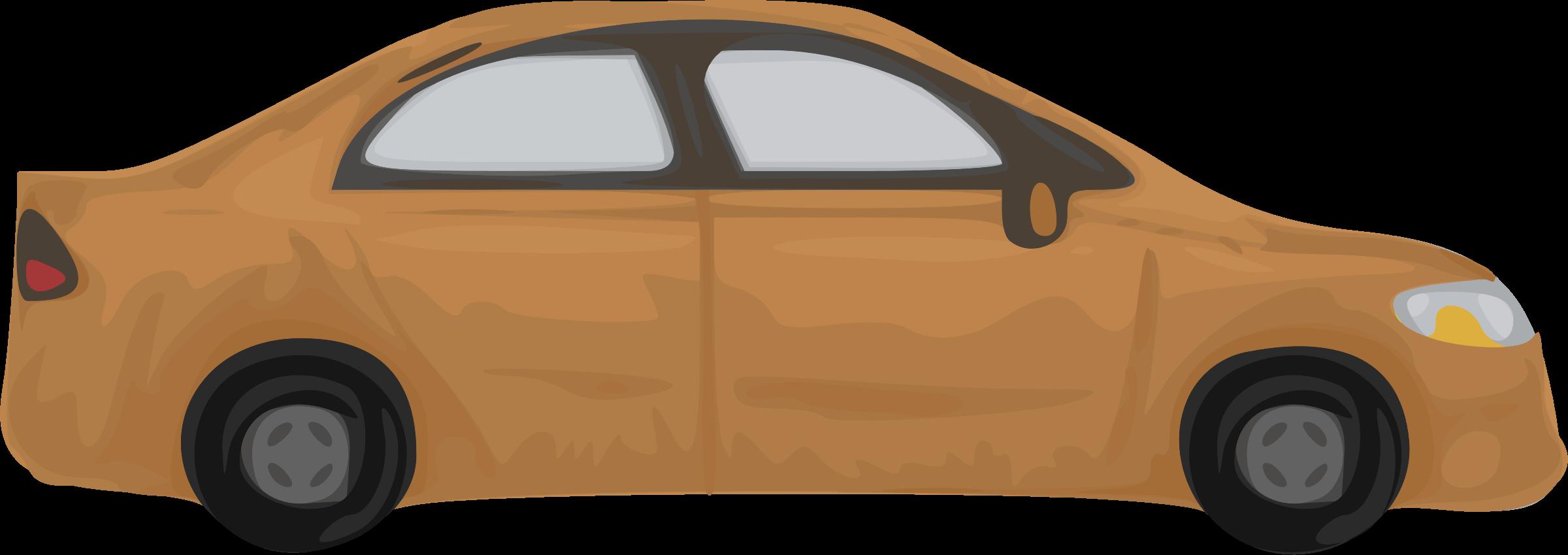Clipart car orange. Rough brown big image