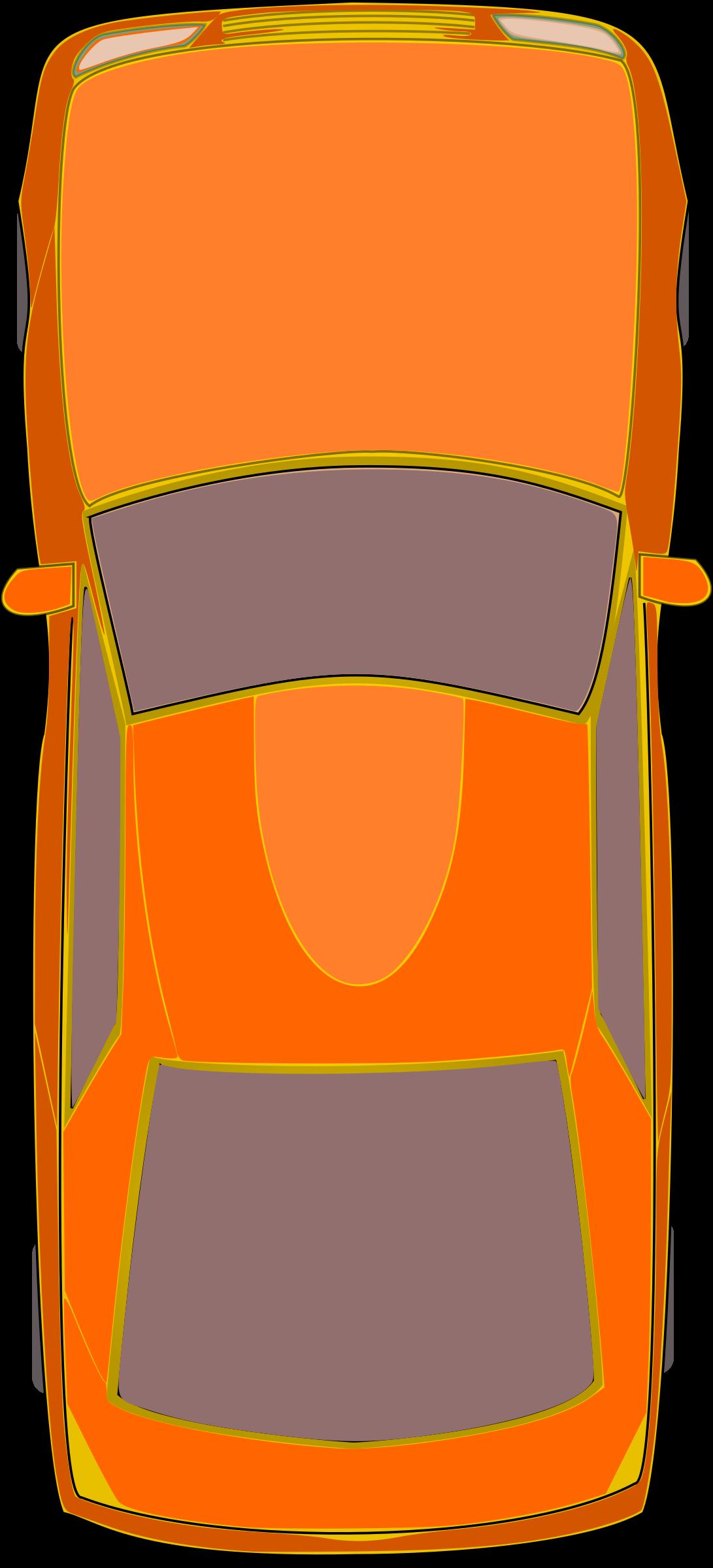 Orange car big image. Door clipart top view