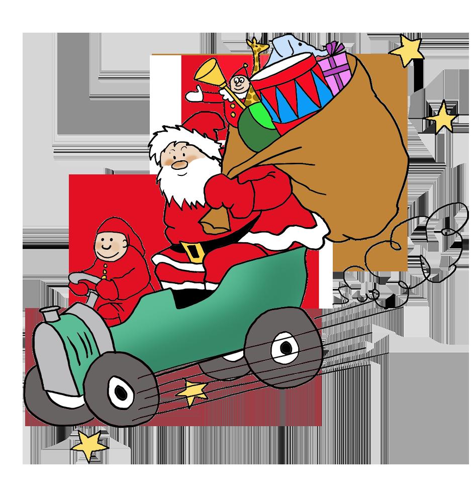 Clipart free santa. Funny and claus bringing
