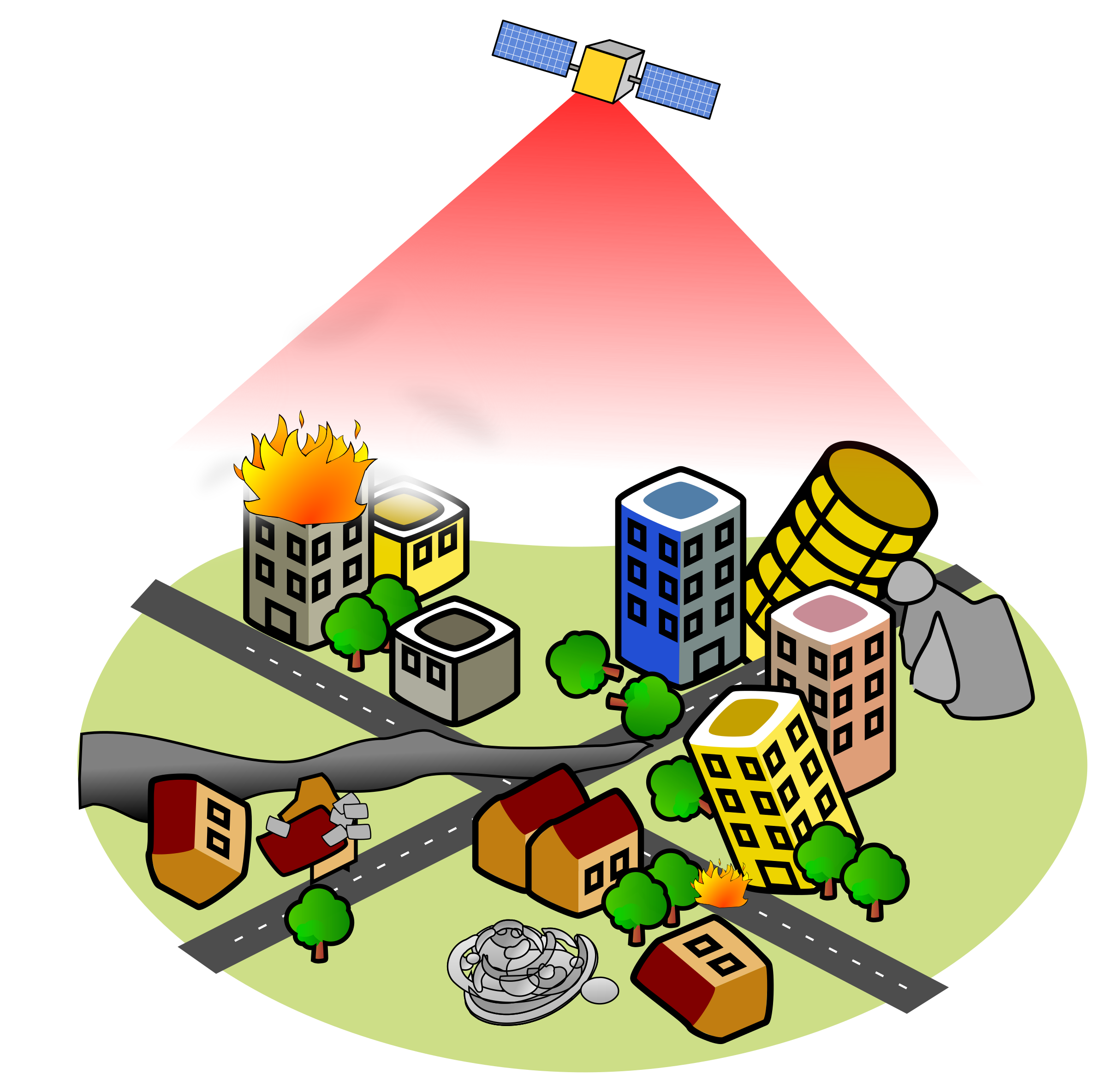 Disaster remote sensing icons. Earthquake clipart earhquake