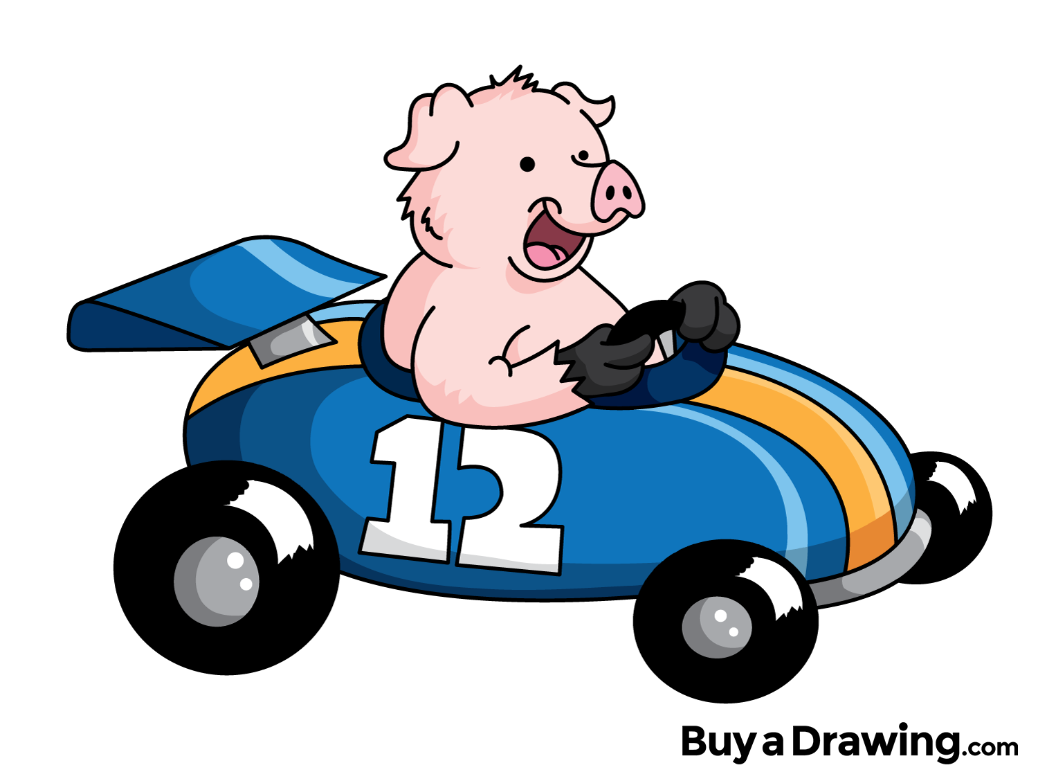 Race clipart family game. A cartoon pig in