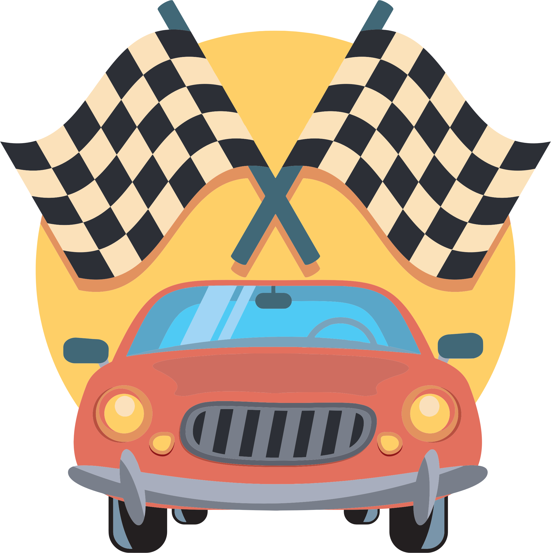 Race clipart vehicle. Car and racing flags