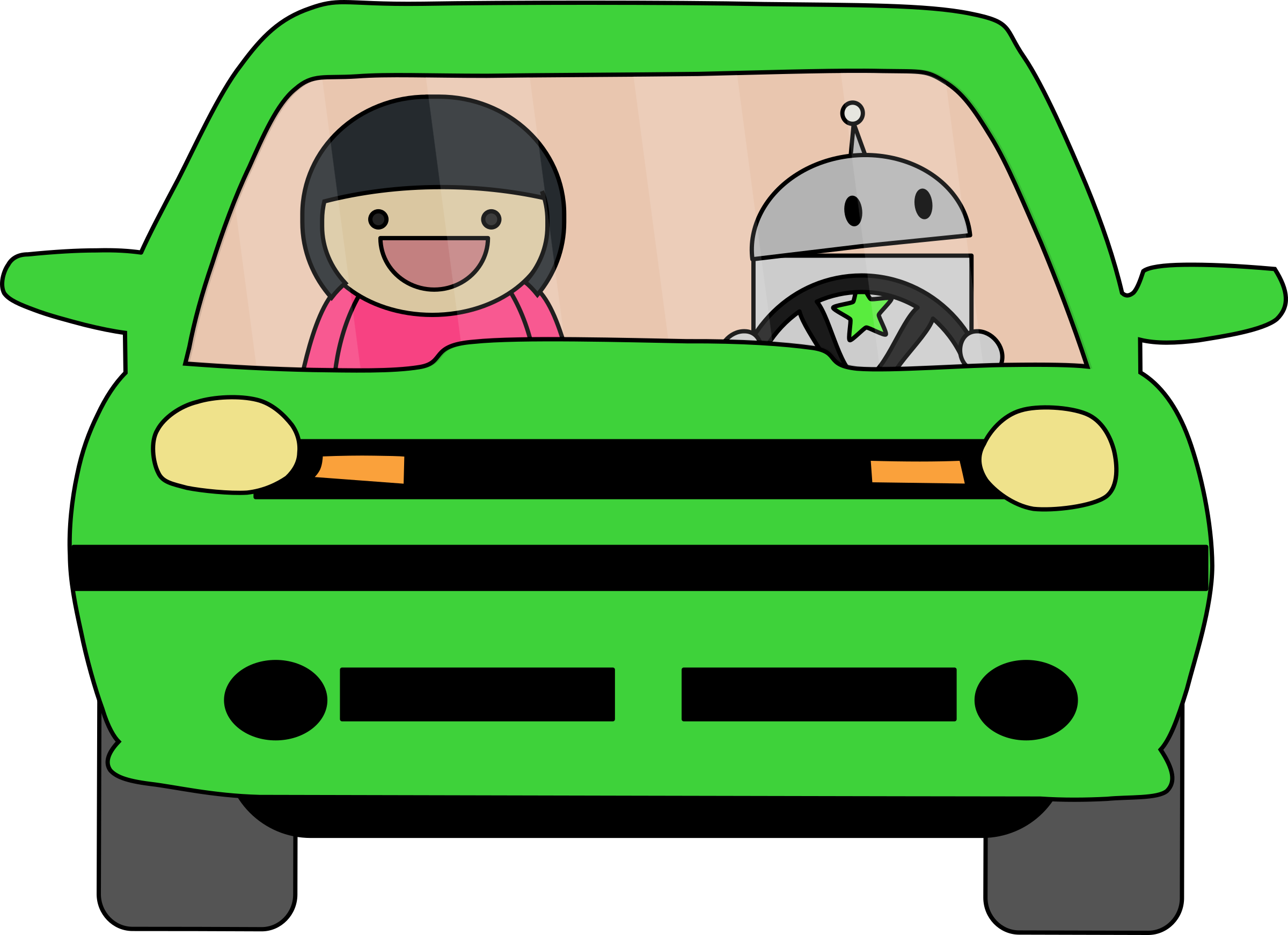 Robot driving big image. Driver clipart lady