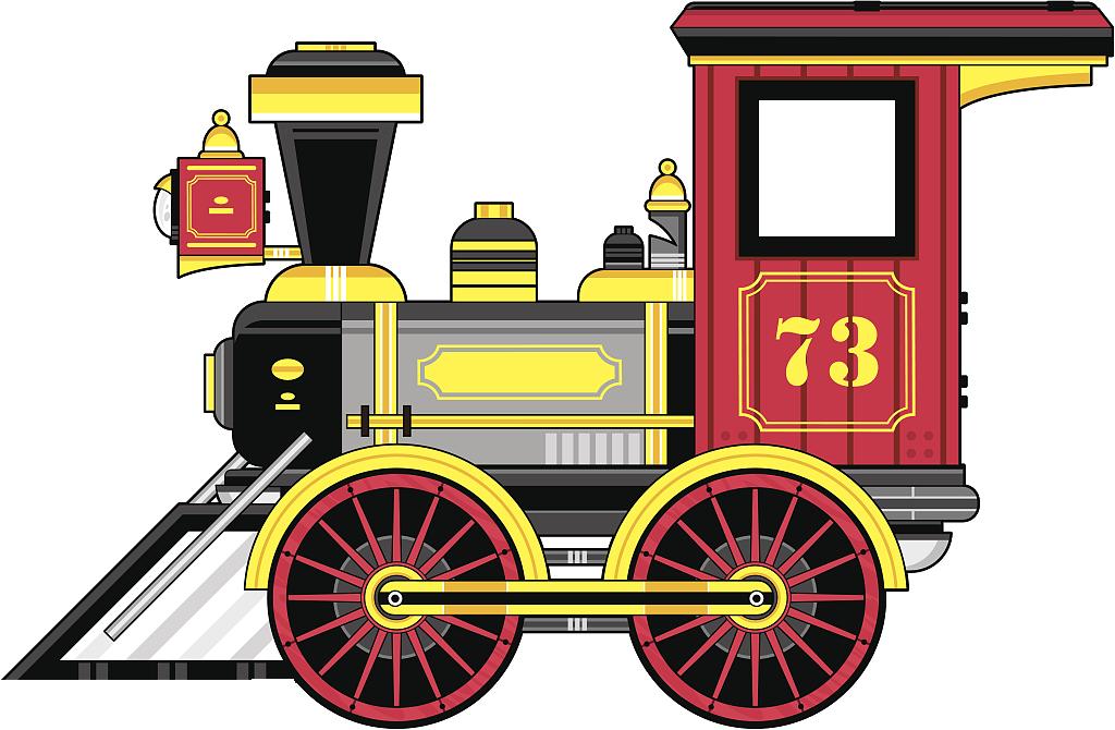 Rail transport steam locomotive. Clipart train retro