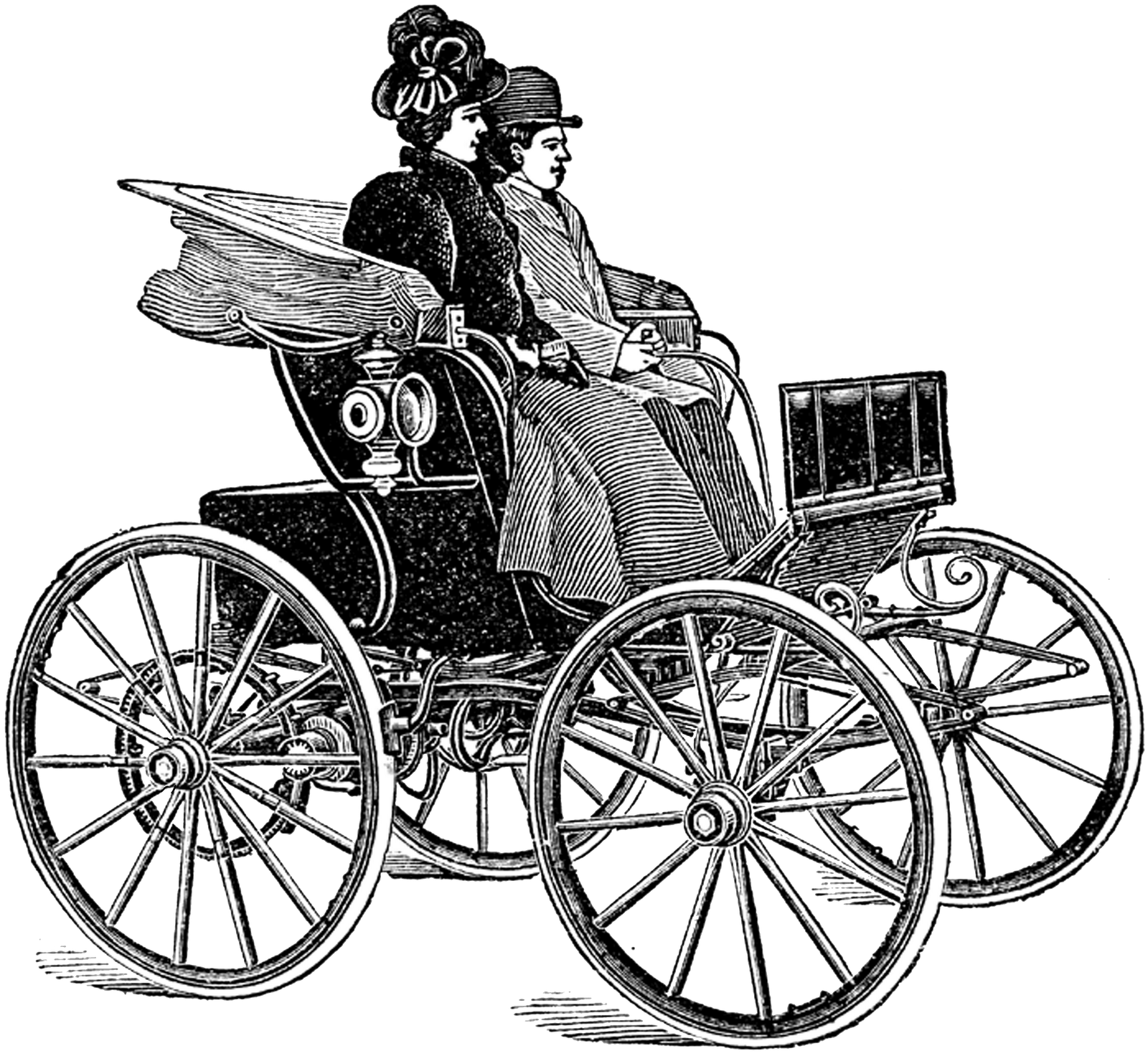 Steampunk clipart train. Vintage very old car