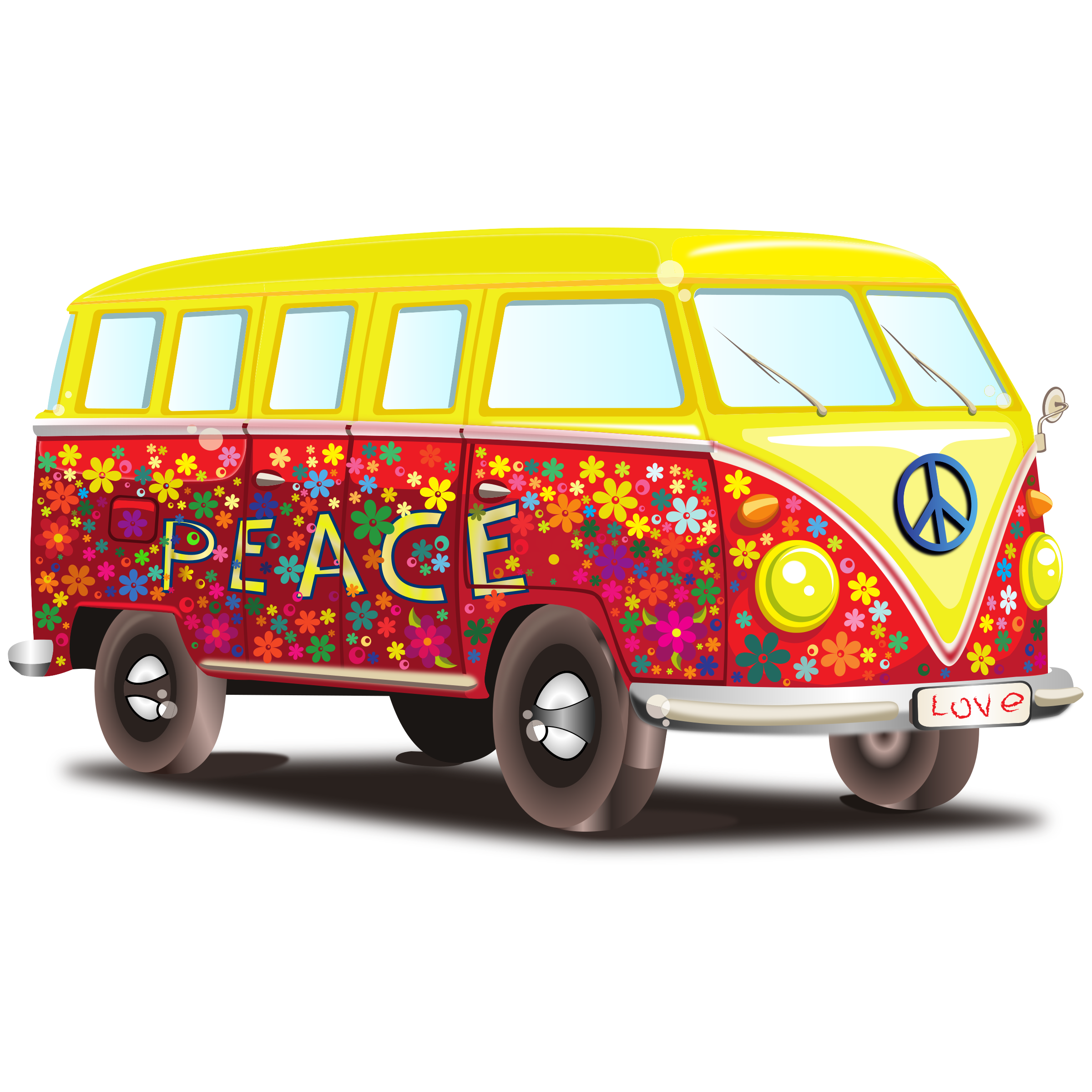 Peace and love png. Minivan clipart vintage van vw