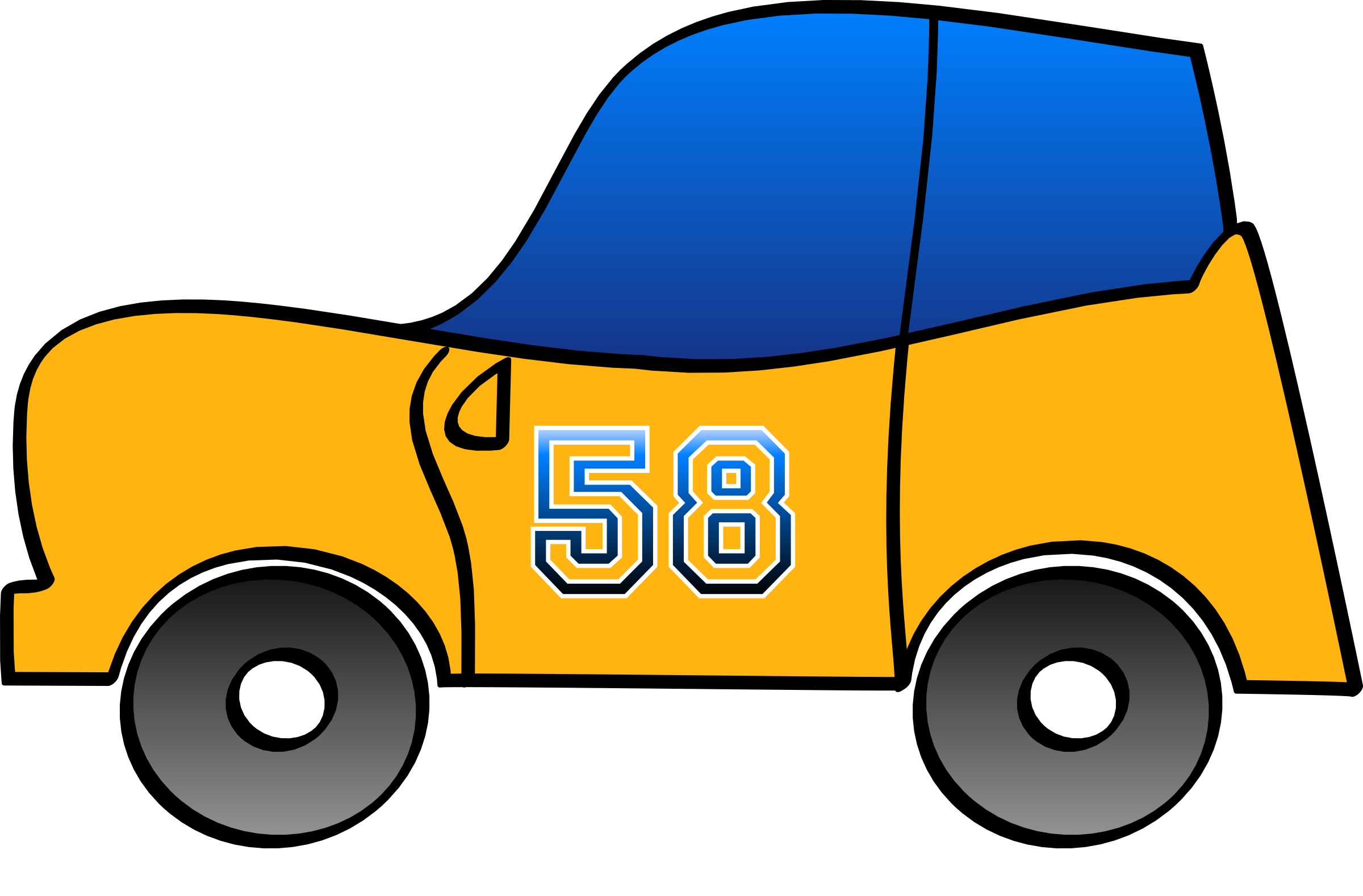 Clipart cars vector. Blue car funny d