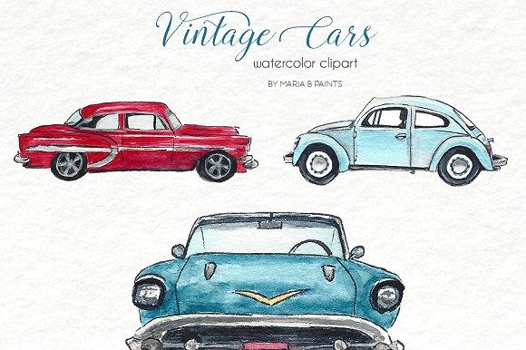 Classic set . Clipart cars watercolor