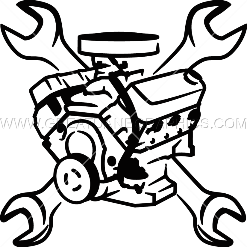 Engine block wrenches production. White clipart wrench