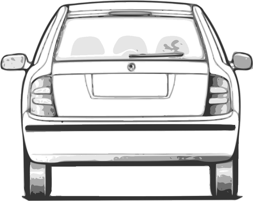 Car front view panda. Clipart cars back