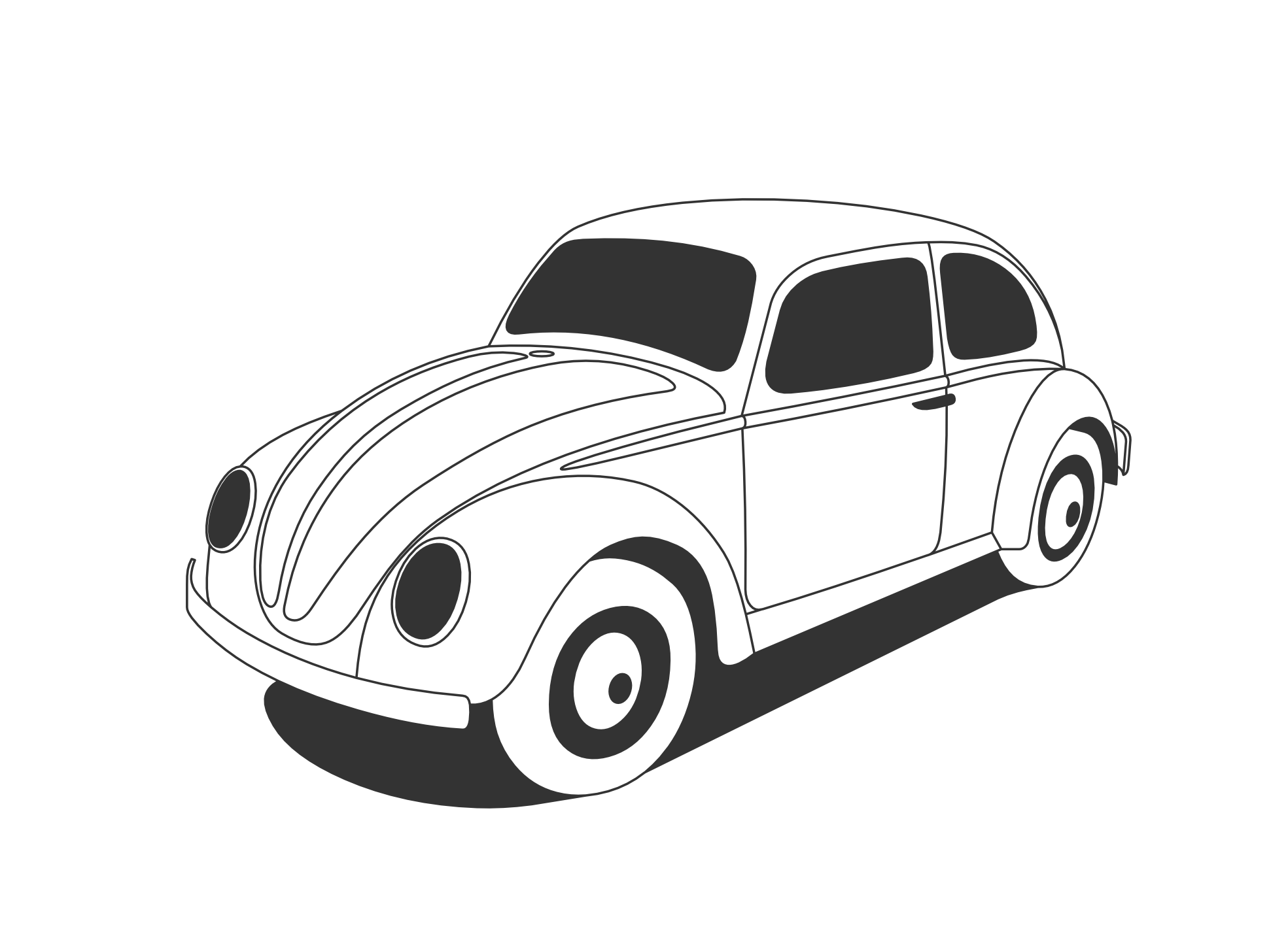 Clipart cars beetle. Vw black and white