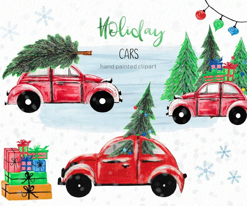 Winter beetle holiday instant. Clipart cars christmas