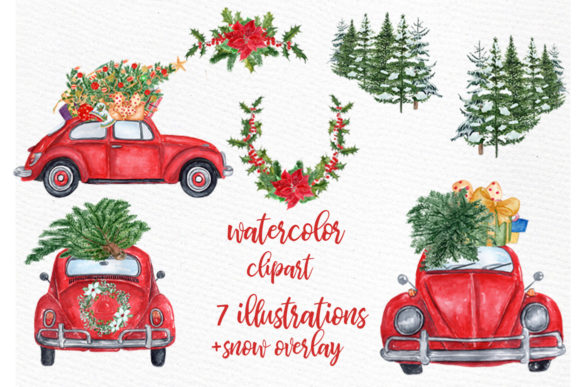 Watercolor . Clipart cars christmas