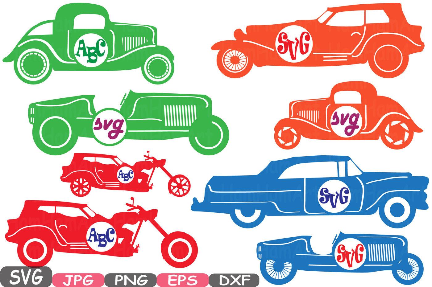 Color vintage sport monogram. Clipart cars circle