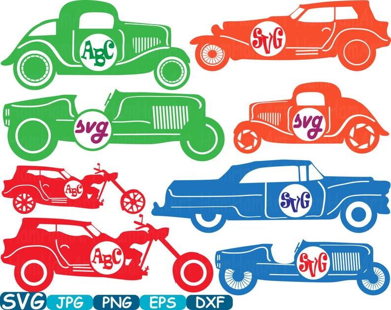 Clipart cars circle. Color vintage sport monogram