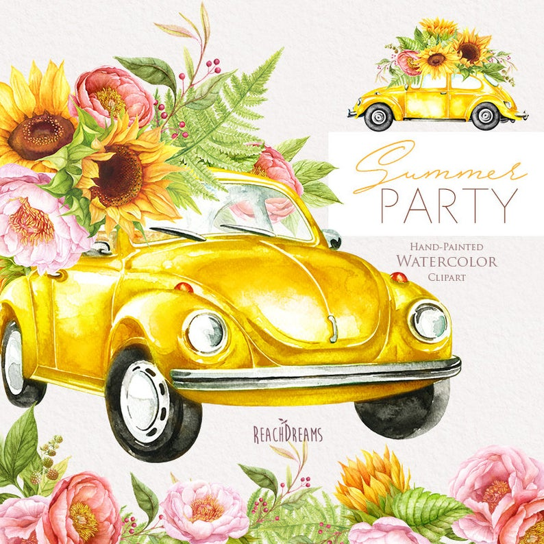 Watercolor yellow vw beetle. Clipart cars flower