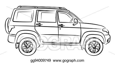 Eps illustration sketch of. Clipart cars handle
