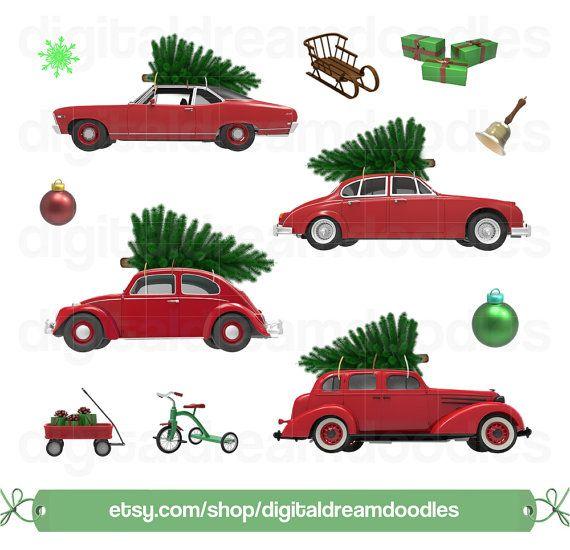 Christmas car tree xmas. Clipart cars holiday