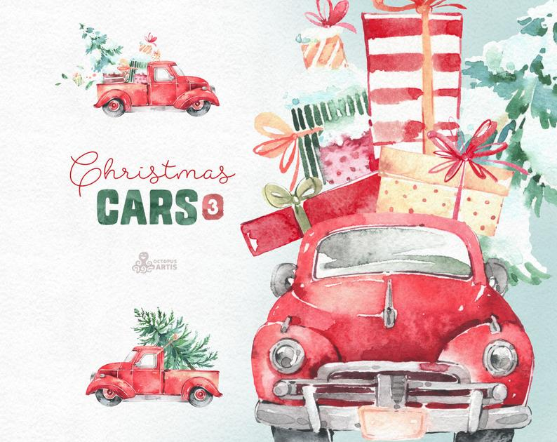 Christmas watercolor vintage retro. Clipart cars holiday