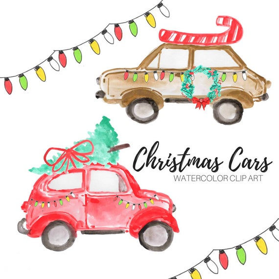 Watercolor christmas graphics tree. Clipart cars holiday