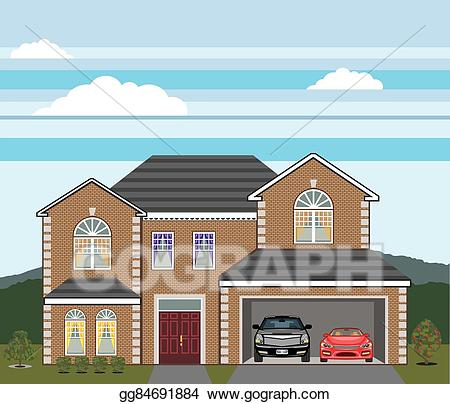 Vector stock house with. Clipart cars home