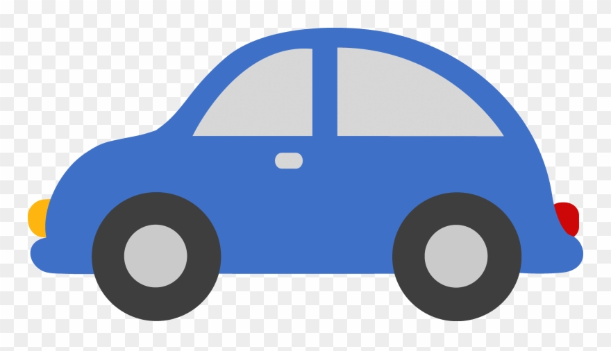 Barn blue toy car. Clipart cars house