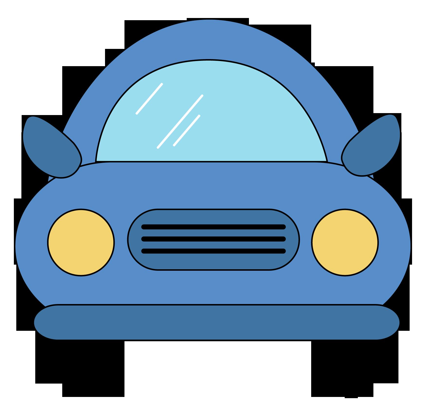 Blue car yellow cartoon. Clipart cars pencil