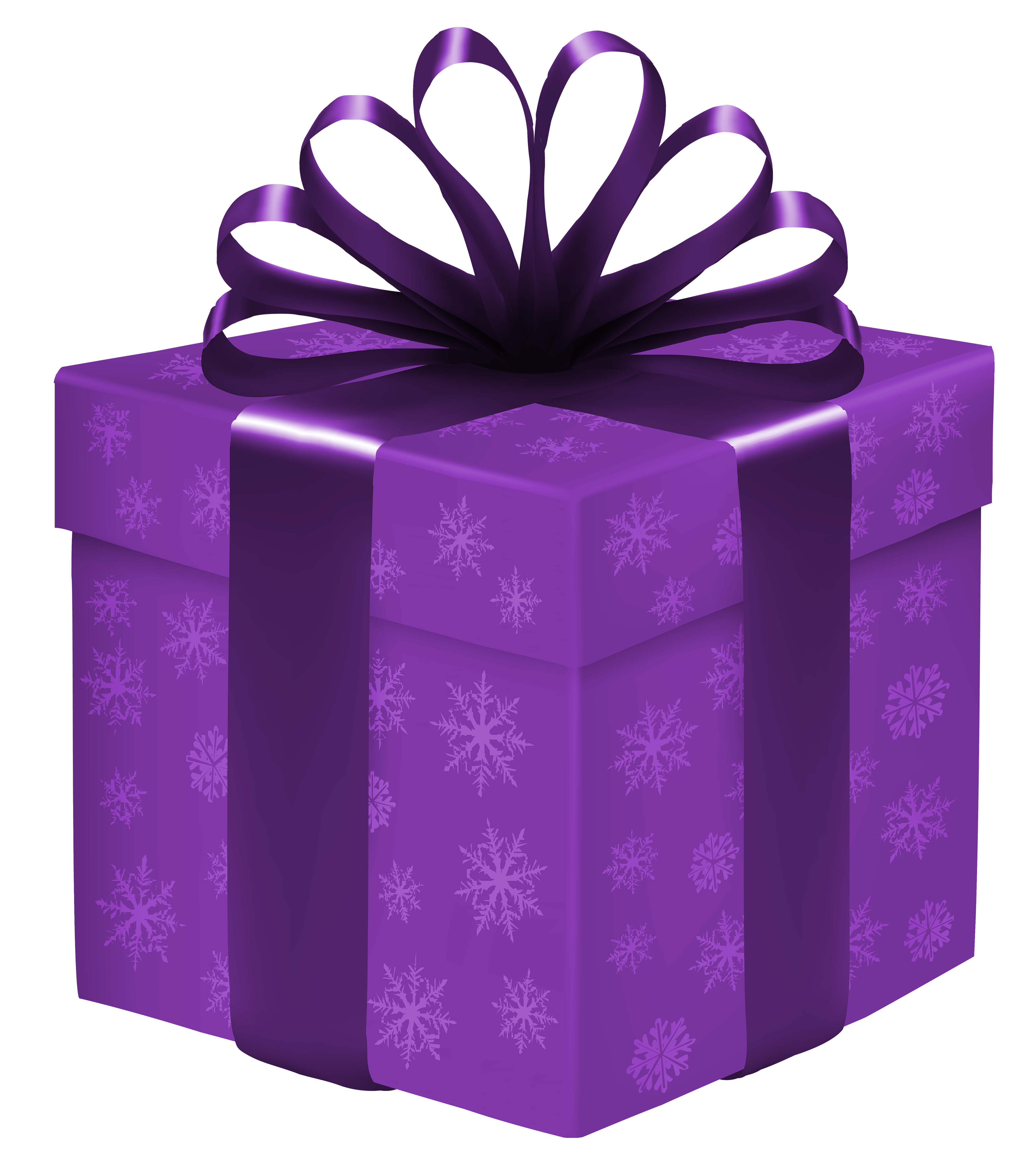 Gift box with snowflakes. Purple clipart present