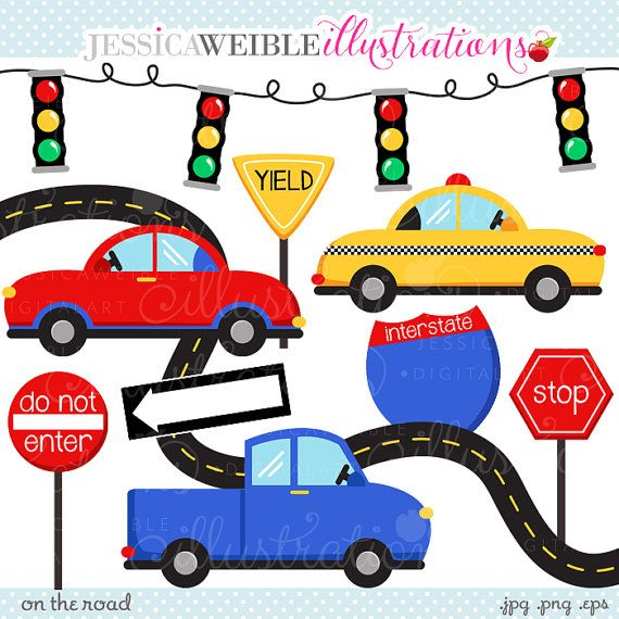 On the cute digital. Clipart cars road