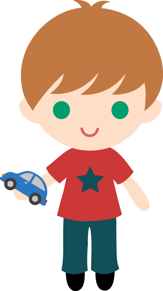 Boy with toy car. Clipart cars simple