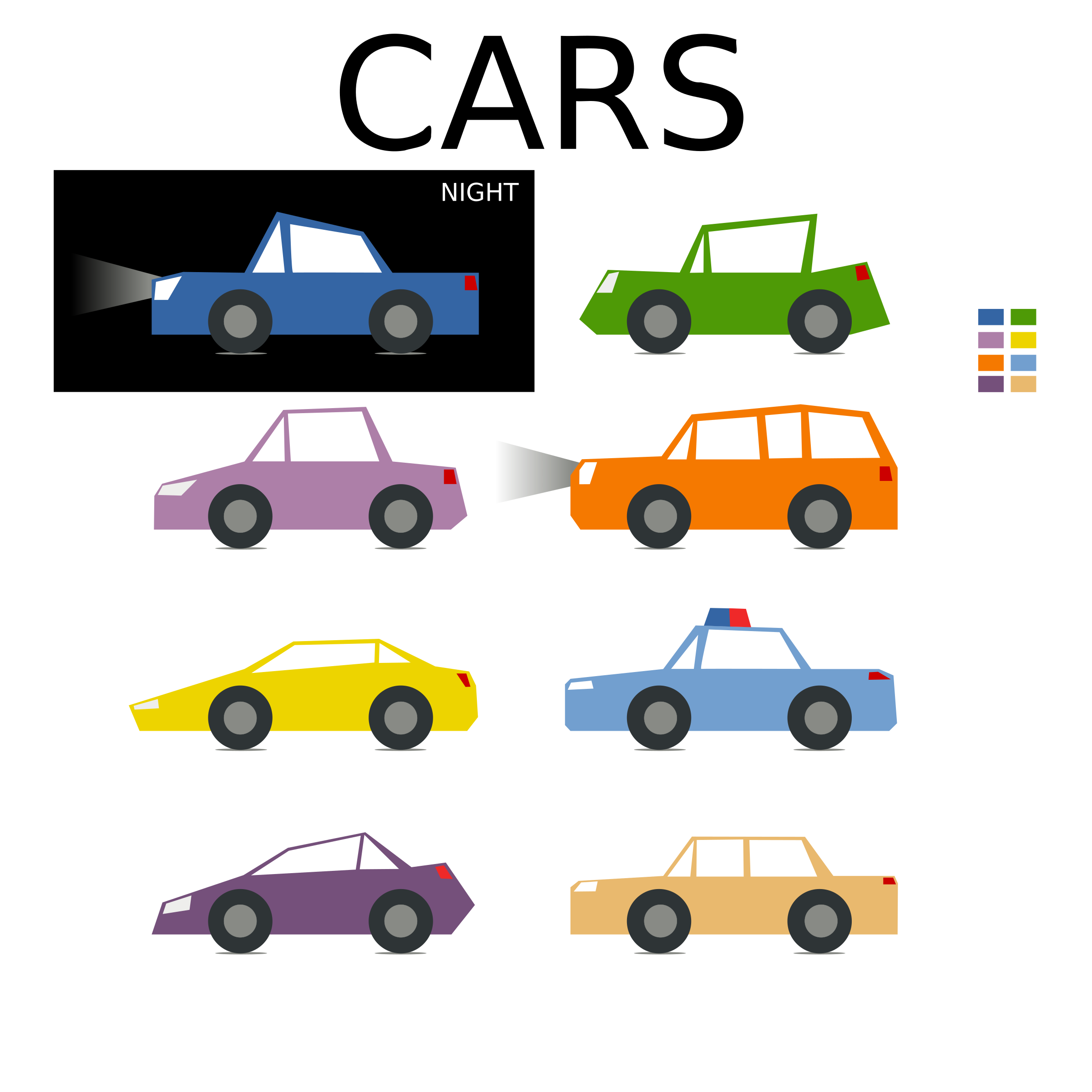 Color clipart car. Minimal colored collection for