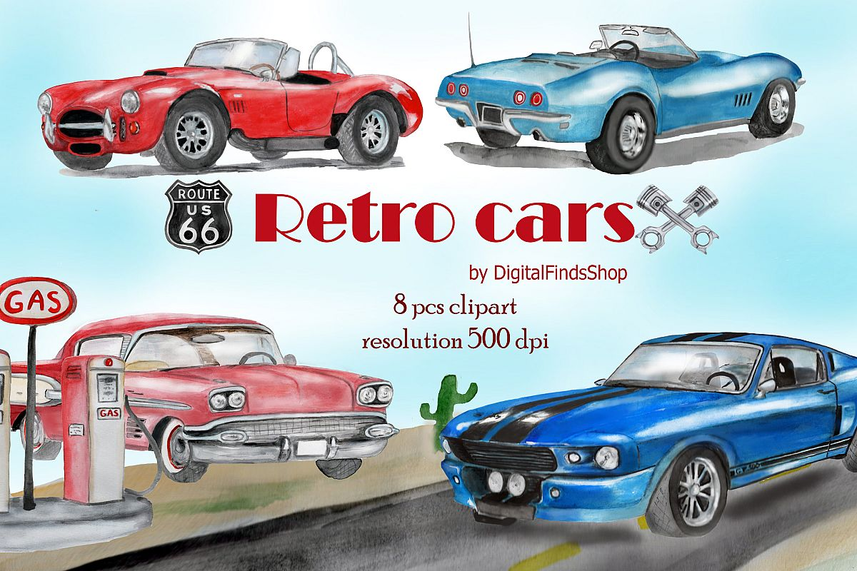 Car vehicle with vintage. Clipart cars watercolor