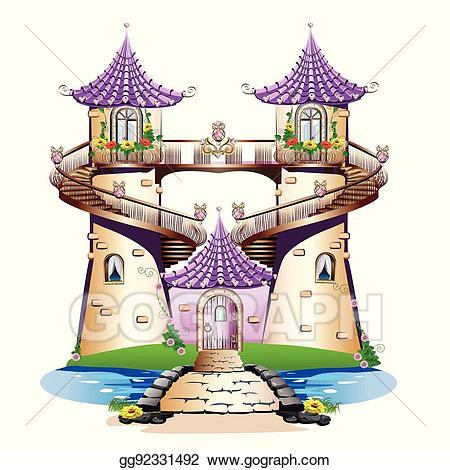 Vector pink fairytale illustration. Clipart castle balcony