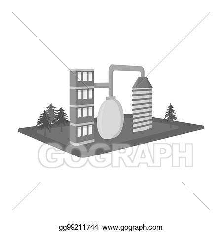 Stock illustration processing factory. Clipart castle bitmap