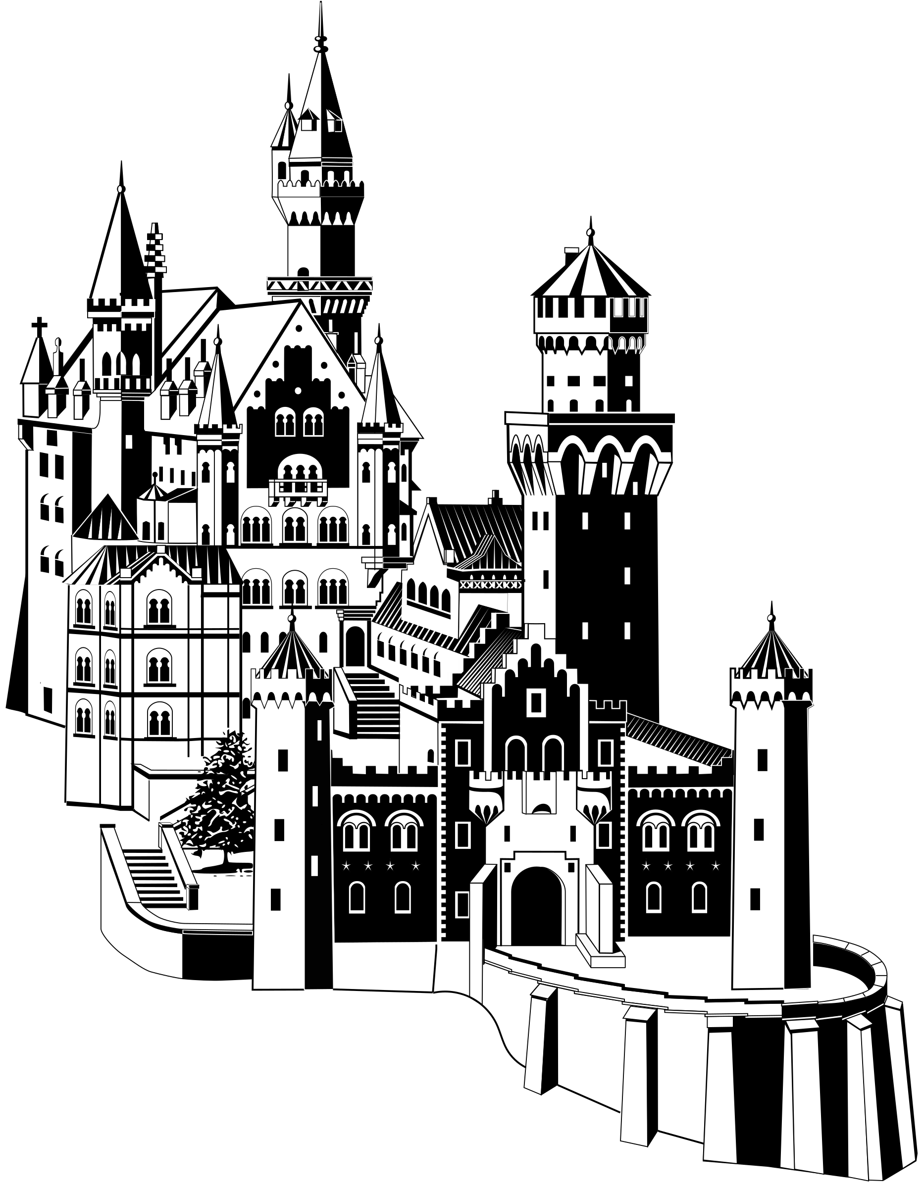 Clipart castle black and white.  collection of medieval