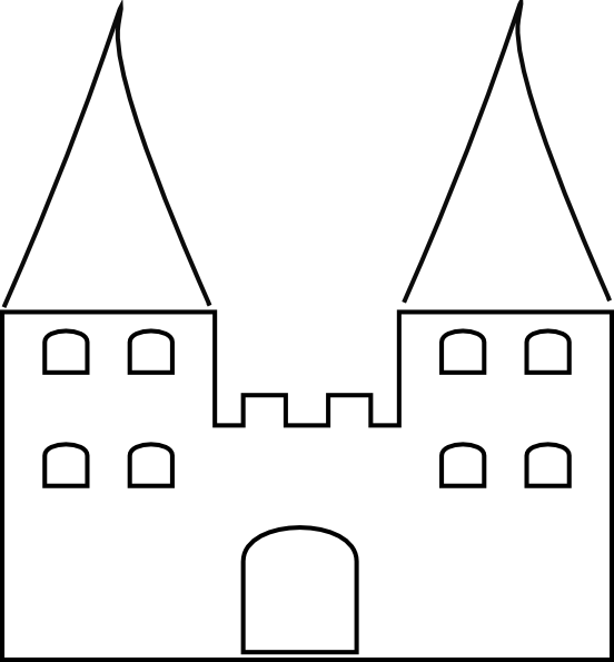 Clipart castle black and white. Clip art at clker