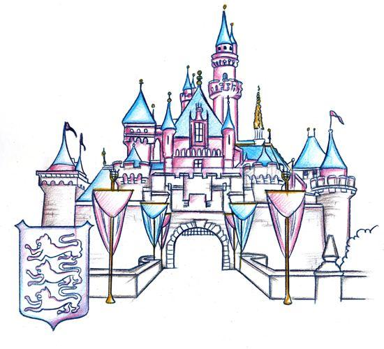 Clipart castle colour. Disneyland disney pencil and