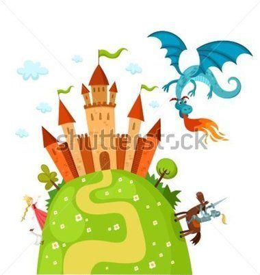 Clipart castle dragon. Vector illustration of a