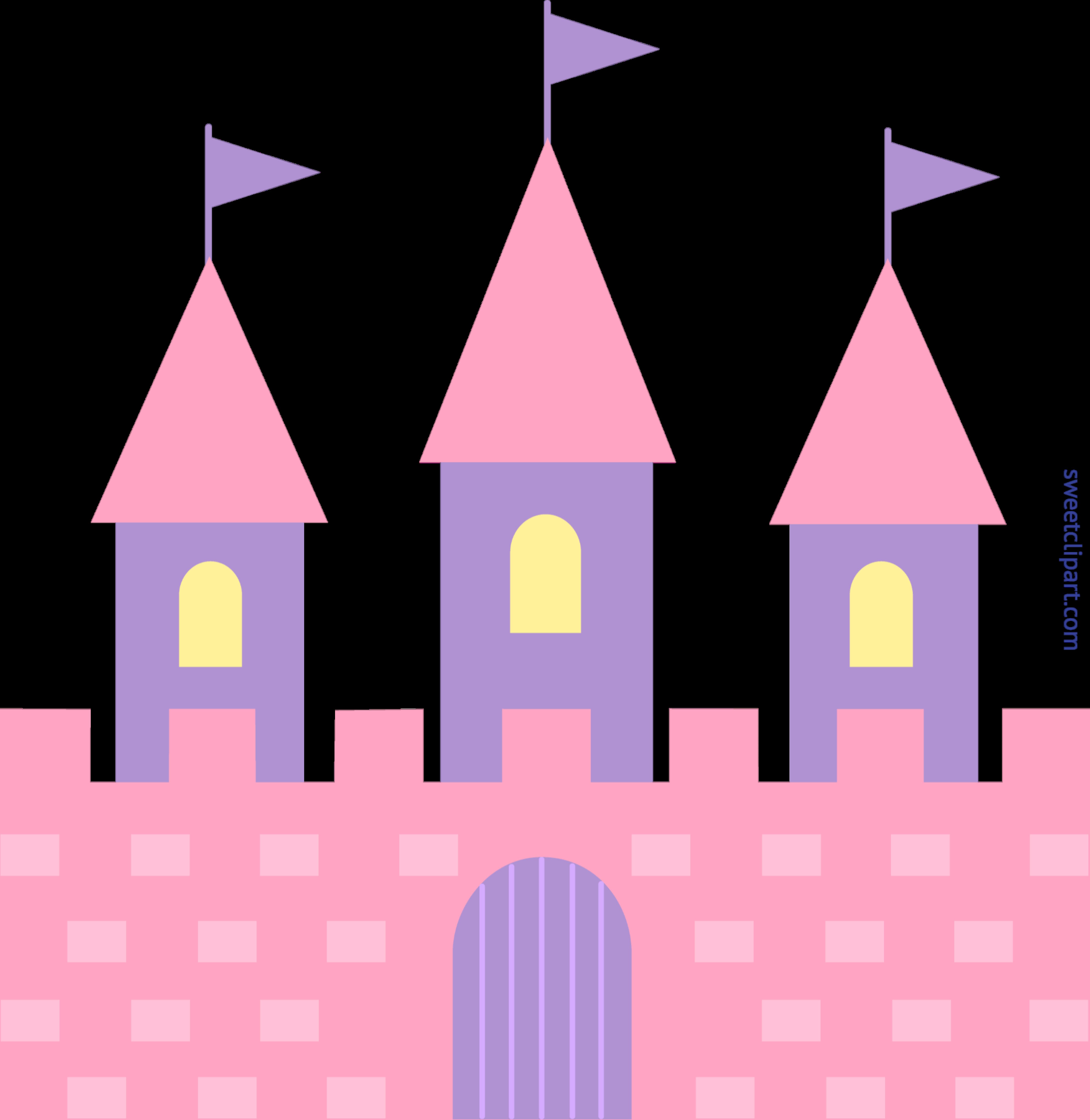 Clipart castle easy. Pink clip art sweet