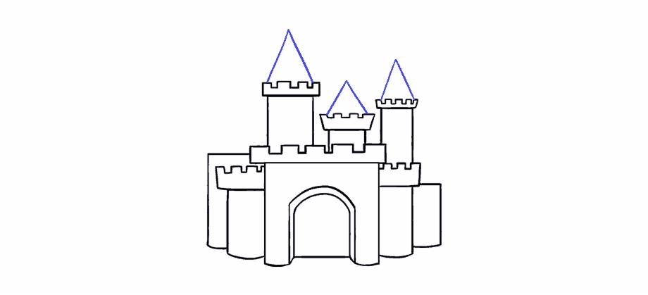 To draw cartoon castles. Clipart castle easy