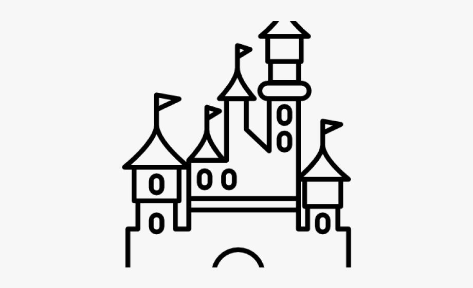 Disneyland black and white. Clipart castle easy