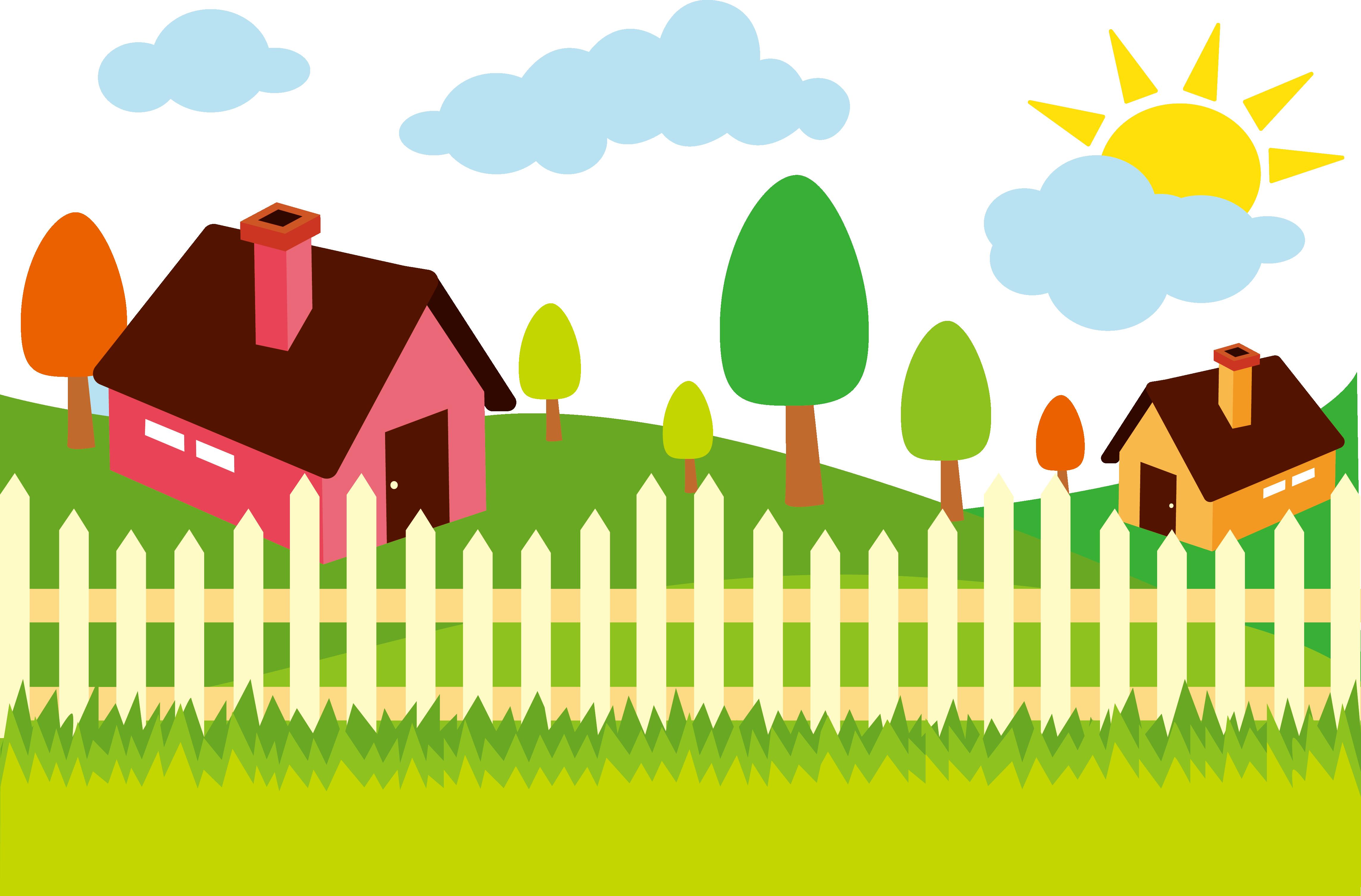 Adobe illustrator illustration pastoral. Fencing clipart painting fence